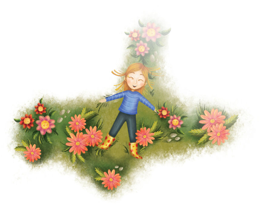 Girl laying in grass and flowers illustration from Love Rays childrens book