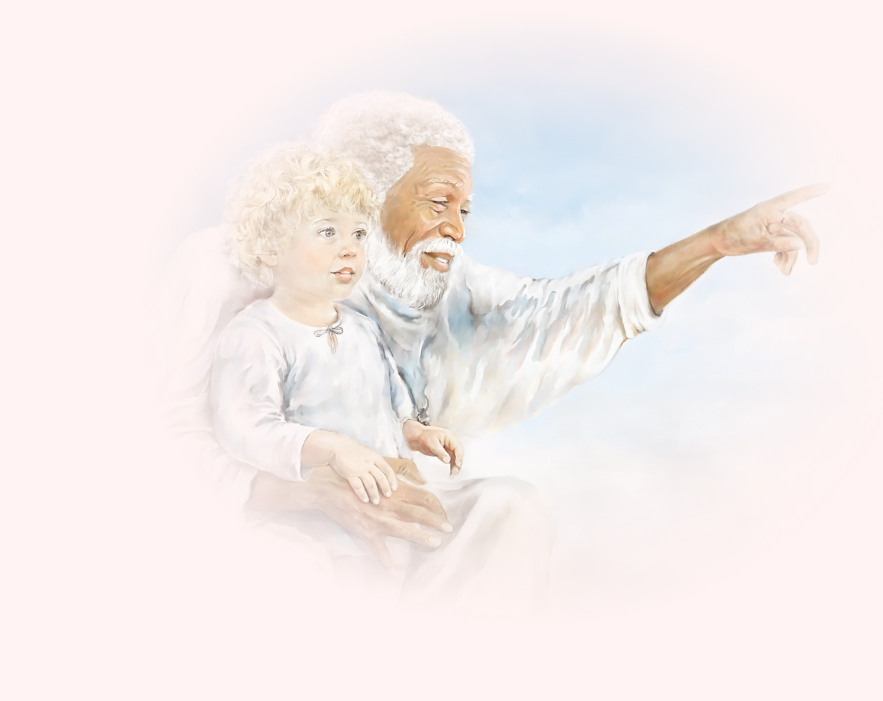 Illustration of God holding little boy in heaven