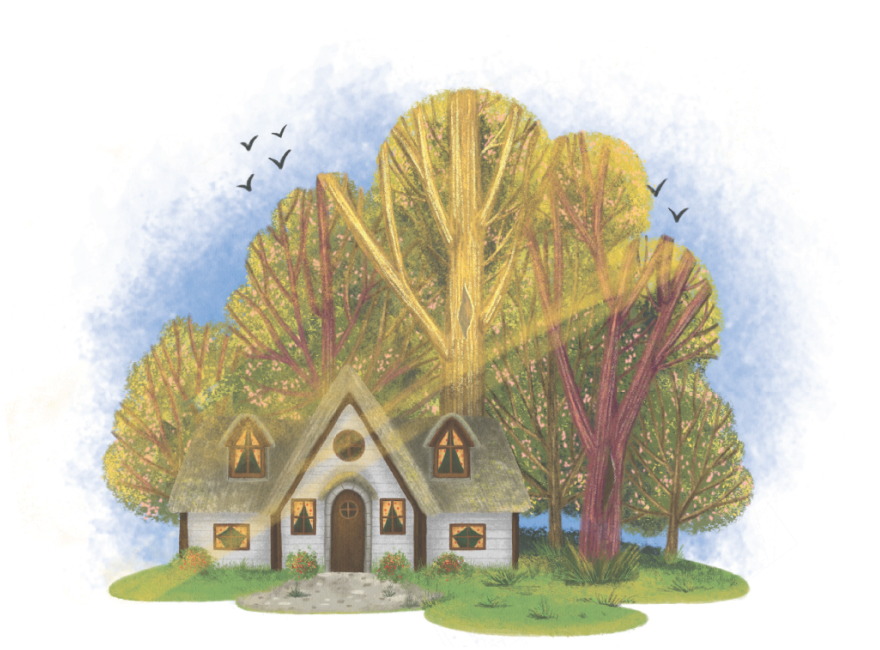 house in the forest illustration from love rays childrens book